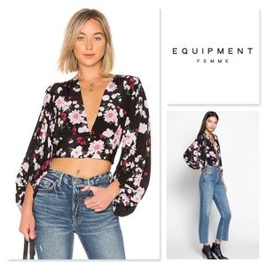 Equipment Sola Garden Party Blouse Cropped Women L